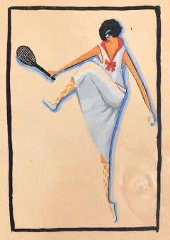 Tennis Player / Woodcut Hand Colored in Tempera on Paper - Art Deco - 1920s
