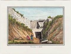Tesoreria d'Atrée - Original Etching and Watercolor - Late 19th Century