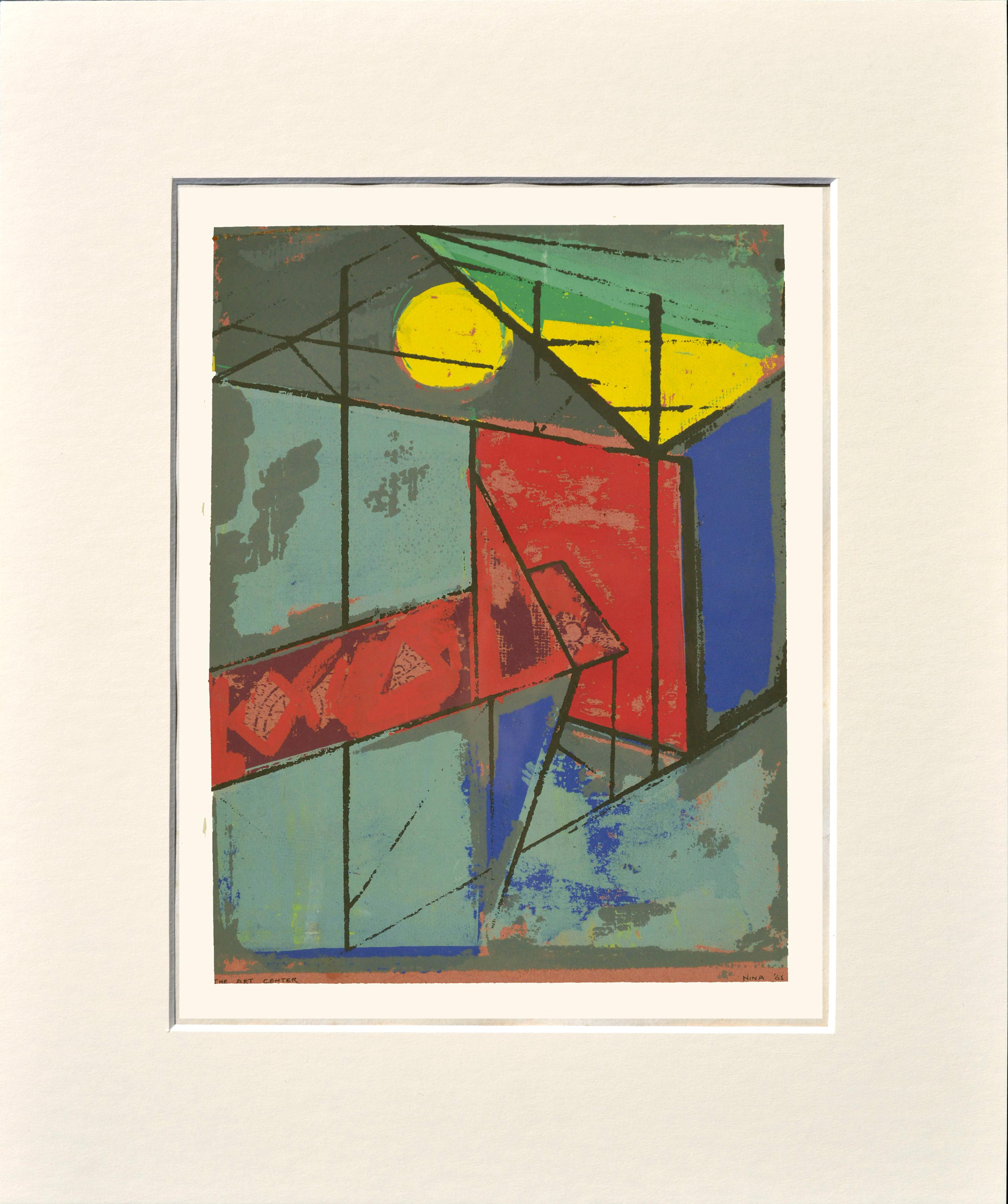 """The Art Center"" - Mid Century Urban Abstract Geometric Serigraph by Nina"