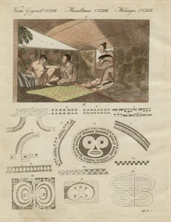 The Art of Tattooing in Nuka, engraving with original hand-colouring, circa 1815