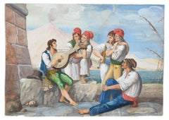 The Ballad Singer - Original Etching by Anonymous Neapolitan Master - 1800