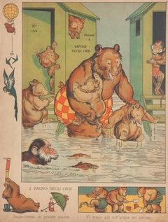The Bath of bears - Original Lithograph - 19th Century