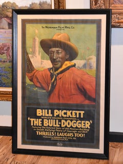 """""""The Bull Dogger""""  Texas Rodeo Movie Poster of Bill Pickett Famous Black Cowboy"""