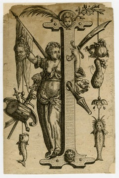The capital letter I - Judith holding Holofernes head - Engraving - 17th Century