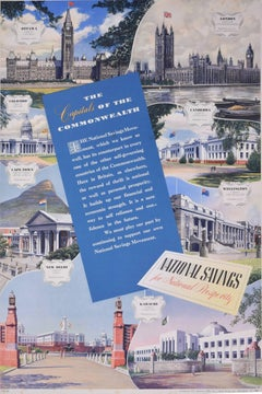 The Capitals of the Commonwealth Original National Savings Poster c. 1950