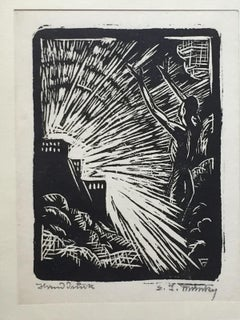The Evocation - Original Woodcut - Early 20th Century
