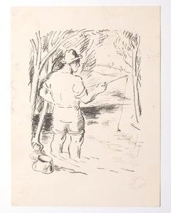 The Fisherman - Original Lithograph - Mid-20th Century
