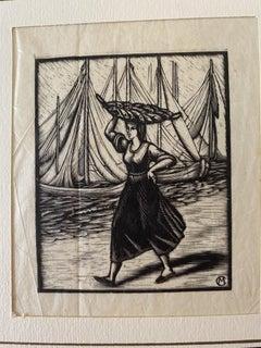The fisherwoman - Original Woodcut - mid-20th Century