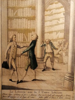 The Library - Original Etching - Early 19th Century