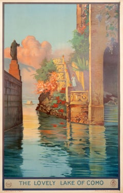 """""""The Lovely Lake of Como"""" Travel Poster 1920s"""