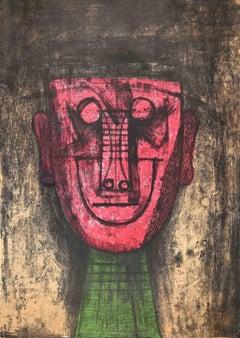 The Mask - Original Lithograph by Rufino Tamayo - 1974