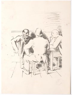 The Meeting - Original Lithograph - Mid-20th Century