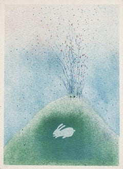The Rabbit on Volcano - Original Lithograph - Late 20th Century