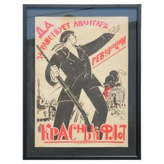 """""""The Red Navy"""" Black and Red October Revolution Soviet Russia Avant-Garde Poster"""