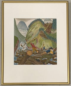 The Story of Alaska Lithograph Bookplate by Dewitt C.1940