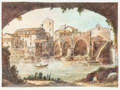The Tiber - Original Hand Watercolored Etching - 19th Century