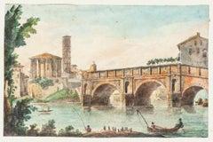 The Tiber Rome - Original Hand Watercolored Etching - 19th Century