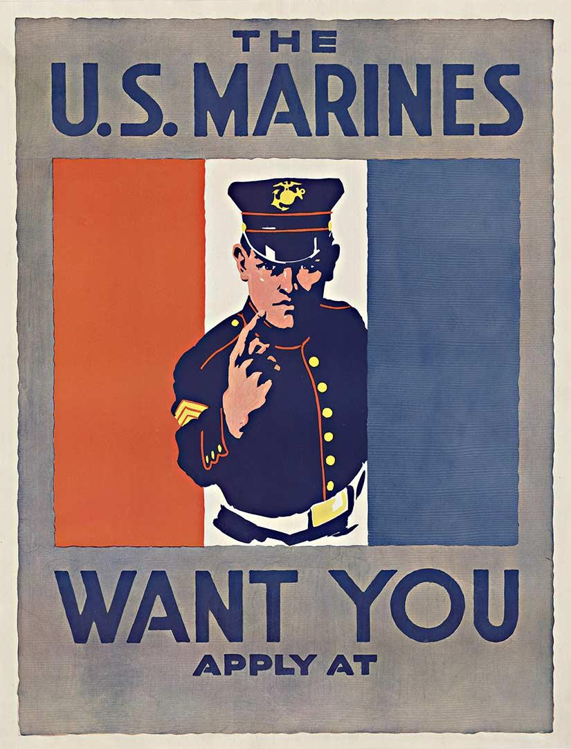 The U. S. Marines Want You original vintage World War One poster