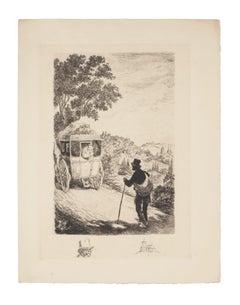 The Wayfarer - Original Etching - 19th Century