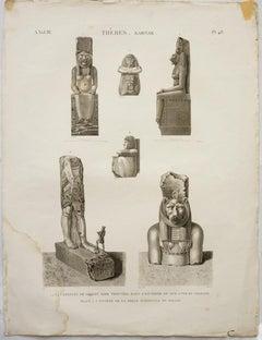 Thebes. Karnak. / 1.2.3.4.5 Statues de Granit Noir Trouvees dans l'Enceinte du S