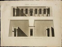 Thebes. Medynet-Abou / Coupes Transversales de la Cour et du Peristyle du Palais