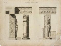 Thebes. Medynet-Abou / Details d'un Pilier Caryatide et d'une Colonne du Peristy
