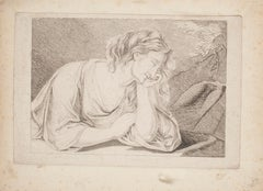 Thinking Woman  - Original Etching - 19th Century