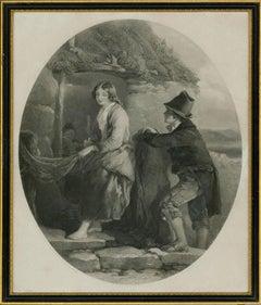 Thomas O. Barlow RA (1824-1889) after F.W. Topham - 1849 Engraving, Making Nets