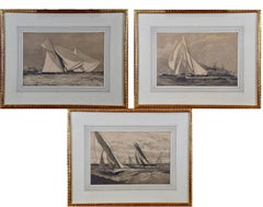 Three Engravings Depicting Sailing Yachts Competing in 1885 America's Cup Trials
