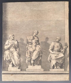 Three Statues of Woman with Child In The Center -Original Etching - 19th Century