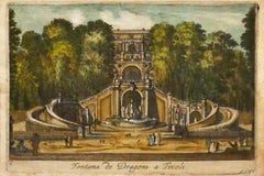 Tivoli - View of the Fountain of the Dragons- Original Etching - 19th Century