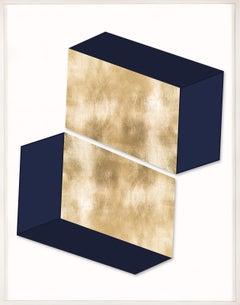 Together, Series 1, Gold Leaf, Framed, Geometric