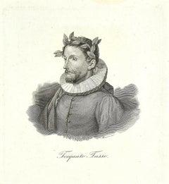Torquato Tasso Portrait - Original Etching on Paper - 19th Century