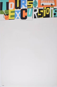 Tours & Excursions Original Coach Travel Poster Mid Century Modern British