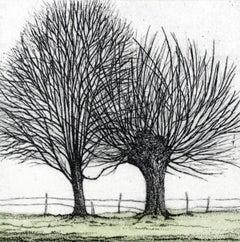 Trees' magic - XXI century, Landscape print, Black, white and green