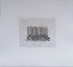 Trolleys Installation - Original Etching on Paper Signed Kokotovic - 1973