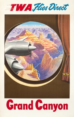 """TWA Flies Direct - Grand Canyon"" Original Vintage Travel Poster"