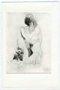 Two Faces Nude - Original Etching and Drypoint - Mid-20th Century