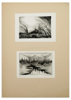 Two Lake Landscapes - Original Etching and Drypoint - 1970s
