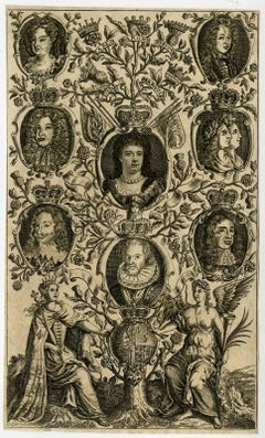 Untitle - Portrait of Anne, queen of England, surrounded by her predecessors.