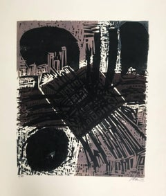 Untitled: Brown, Black, White & Grey Woodcut (Ed. 7/100)