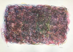 Untitled: Multicolored Abstract  Curved Linear Lithograph (Edition 2/300)