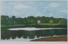 """Untitled (Pink House with Lake),"" Original Color Aquatint signed ""Jelen"""