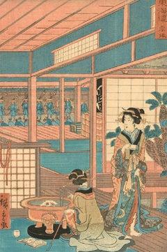 Utagawa Hiroshige II (1826-1869) - Japanese Woodblock, Akasaka