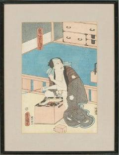 Utagawa Kunisada (1786-1865) - Japanese Woodblock, Sitting Man