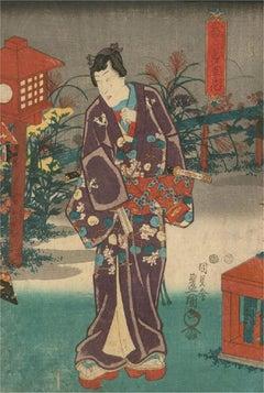 Utagawa Toyokuni III - Late 19th Century Japanese Woodblock, Onna-Bugeisha
