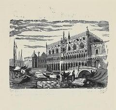 Venice - Original  Woodcut  - 1950s