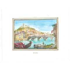 Verona Cityscape - Original Lithograph - 19th Century