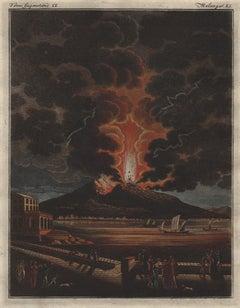 Vesuvius, Naples, Italy. Volcano, engraving with original hand-colouring, 1815