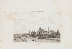 View of Auxerre - Original Lithograph - 19th Century